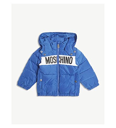 MOSCHINO 标志前连帽夹层夹克 6-36 发表 (蓝色