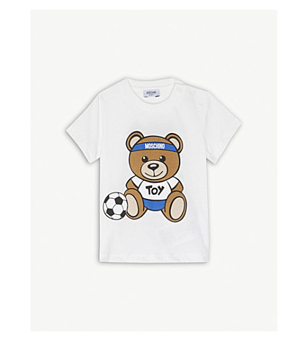 MOSCHINO Football bear cotton T-shirt 6-36 months (White