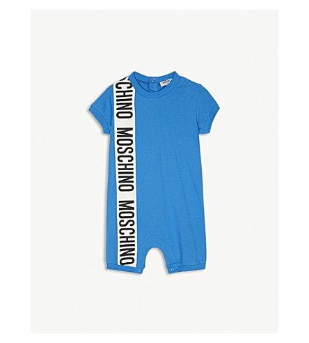 MOSCHINO Logo cotton playsuit 3-18 months (Blue