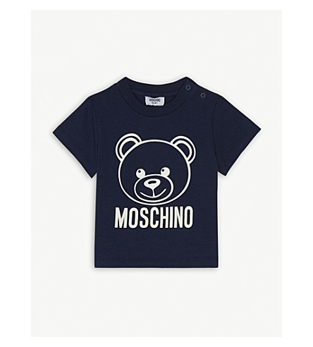 MOSCHINO Teddy bear logo cotton-blend T-shirt 6-36 months (Navy
