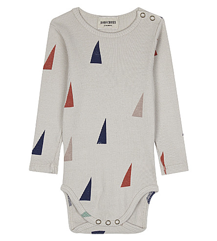BOBO CHOSES Triangle printed cotton babygrow 3-24 months (Beige
