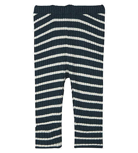 BOBO CHOSES Striped knitted wool-blend leggings 3-24 months (Blue
