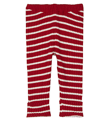 BOBO CHOSES Striped knitted wool-blend leggings 3-24 months (Red