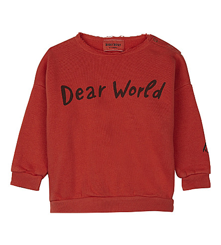 BOBO CHOSES Dear World print organic cotton jumper 3-24 months (Red