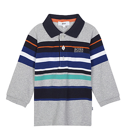 BOSS Stripe print long-sleeved polo shirt 6-36 months (Grey+multi