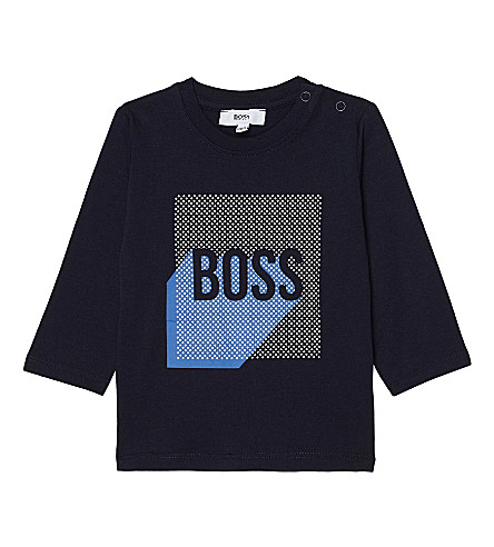 BOSS Spotted logo cotton top 6-36 months (Navy