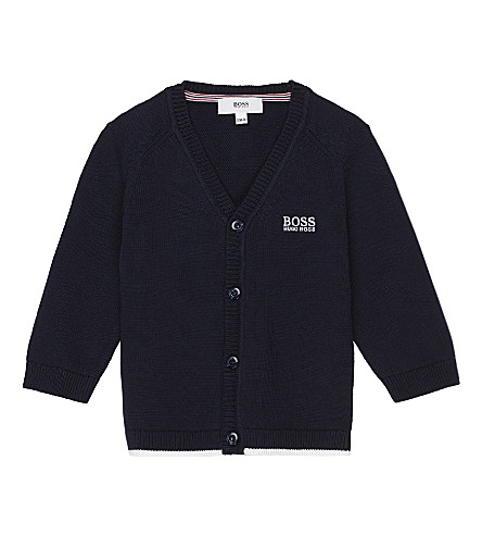 BOSS Embroidered logo knitted cotton cardigan 6-36 months (Navy