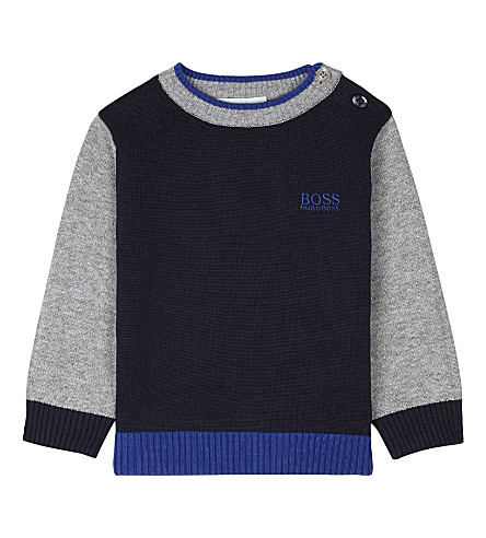 BOSS Cotton logo jumper 6-36 months (Navy