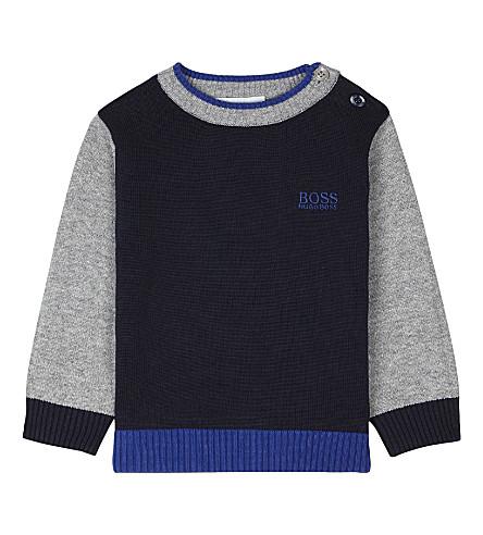BOSS Cotton logo sweater 6-36 months (Navy