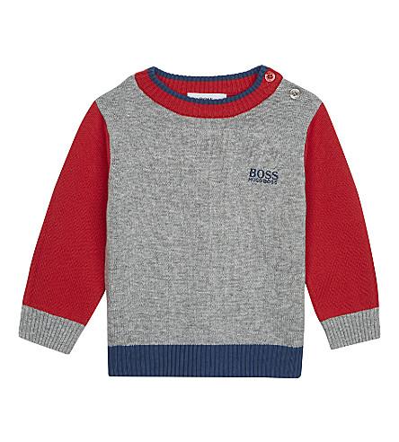 BOSS Cotton logo jumper 6-36 months (Red