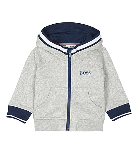 BOSS Logo print zip-through cotton hoody 6-36 months (Grey