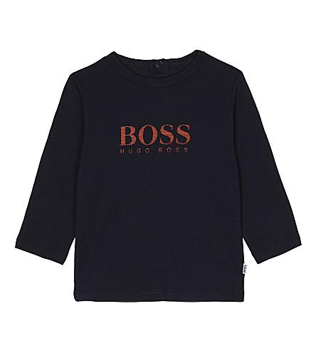 BOSS Logo print long-sleeved cotton top 6-36 months (Navy