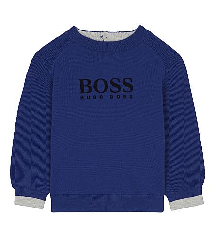 BOSS Velvet logo cotton jumper 6-36 months (Blue