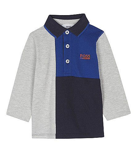 BOSS Block logo cotton long-sleeved polo top 6-36 months (Blue