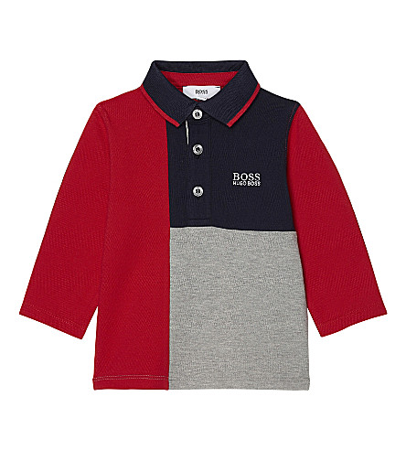 BOSS Block logo cotton long-sleeved polo top 6-36 months (Red