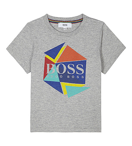 BOSS Logo print cotton T-shirt 6-36 months (Grey