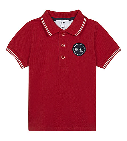 BOSS Logo patch cotton T-shirt 6-36 months (Red