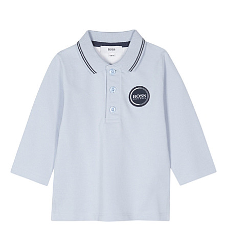 BOSS Logo patch cotton long-sleeved polo shirt 6-36 months (Pale+blue