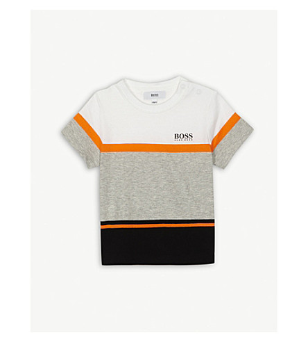 BOSS Block panel cotton T-shirt 6-36 months (Orange/black/white
