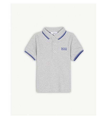 BOSS Logo cotton polo shirt 6-36 months (Grey