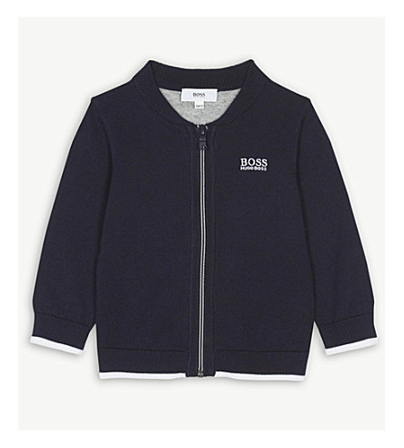 BOSS Brand-embroidered zip through cotton jumper 6-36 months (Navy