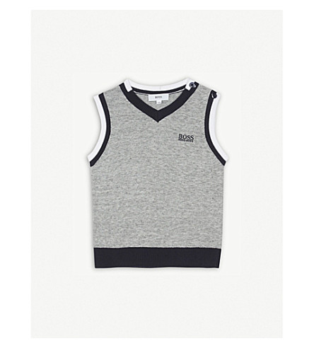BOSS Striped trim knitted cotton tank top 6-36 months (Grey