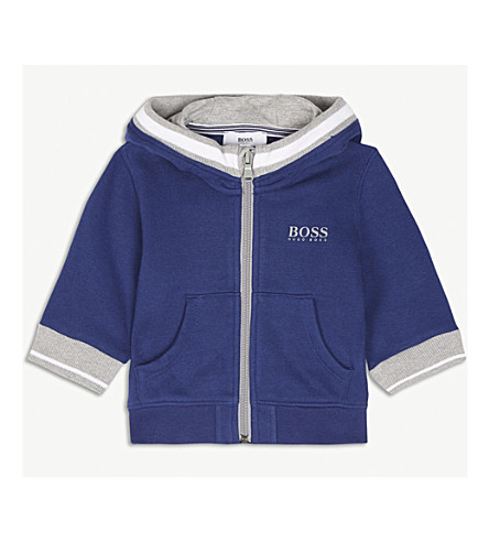 BOSS Logo cotton-blend hoody 6-36 months (Navy