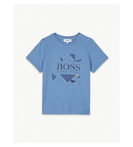 BOSS Diamond logo print cotton T-shirt 6-36 months (Blue
