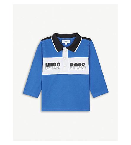 BOSS Logo striped cotton polo shirt 6-36 months (Electric+blue