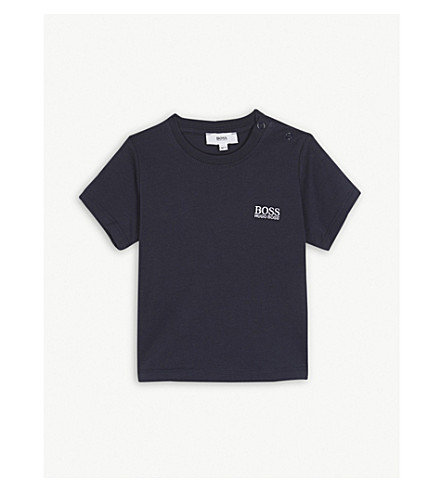 BOSS Embroidered logo cotton t-shirt 6-36 months (Navy