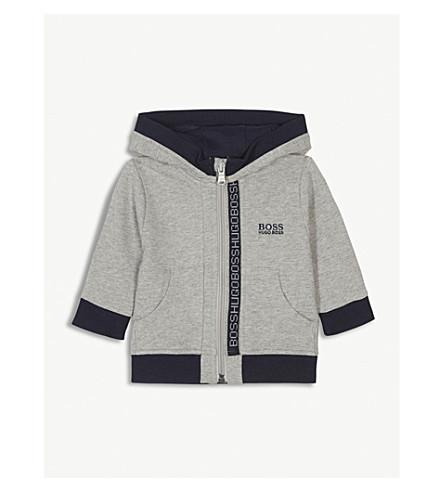 BOSS Logo trim cotton hoody 6-36 months (Grey