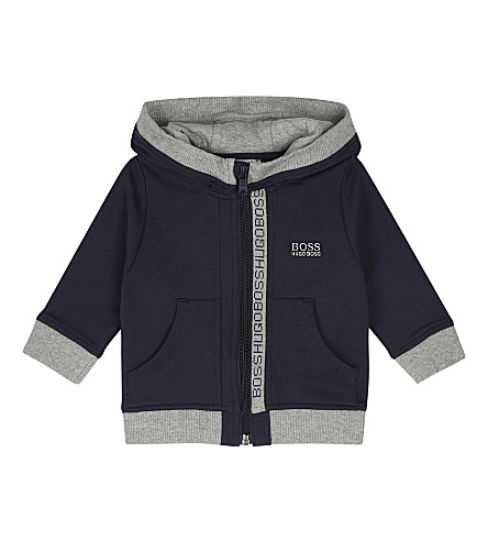 BOSS Logo trim cotton hoody 6-36 months (Navy