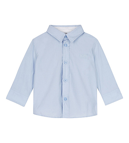 BOSS Poplin cotton long-sleeved shirt 6-36 months (Pale+blue