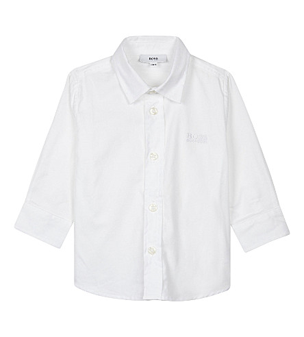 BOSS Poplin cotton long-sleeved shirt 6-36 months (White