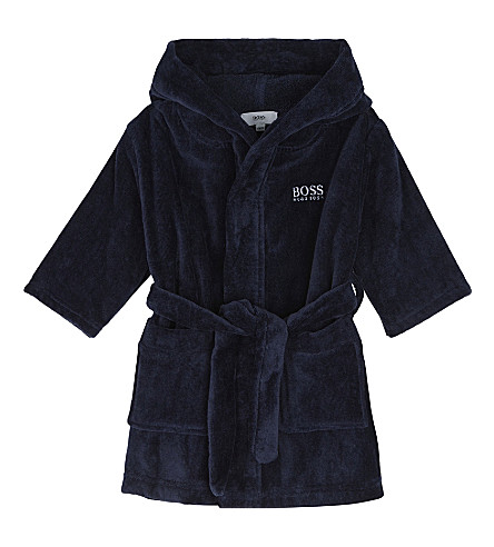 BOSS Logo embossed terry bath robe 6-36 months (Navy