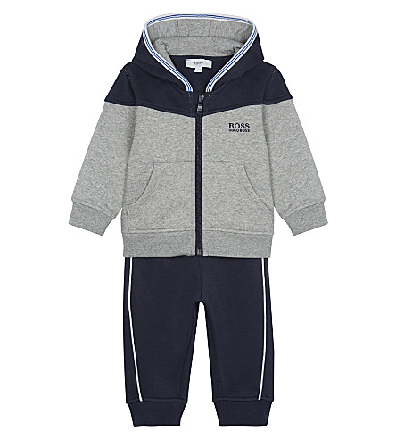 BOSS Cotton hoodie and joggers 6-36 months (Grey
