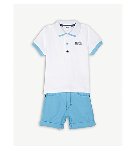 BOSS Polo shirt and shorts set 6-36 months (Blue/white