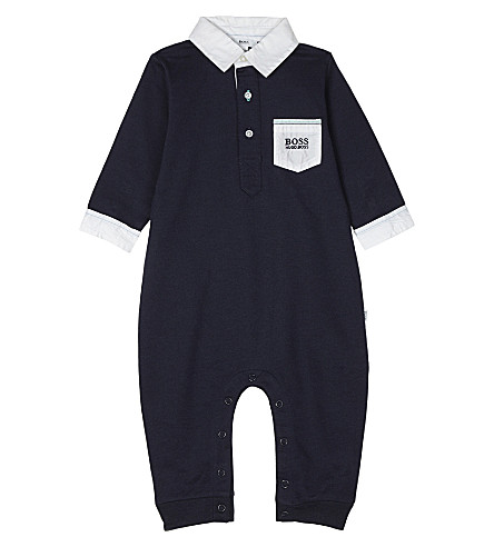 BOSS Logo cotton bodysuit 1-12 months (Navy