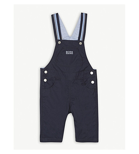 BOSS Stud detail cotton dungarees 3-18 months (Navy