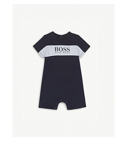BOSS Logo cotton bodysuit 1-18 months (Navy