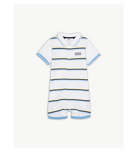 BOSS Brand-embroidered logo striped stretch-cotton bodysuit 1-18 months (Multi