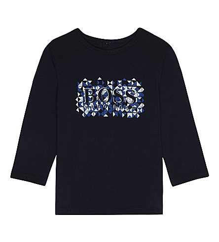 BOSS Geometric logo cotton T-shirt 1-18 months (Navy