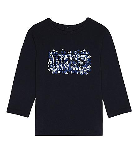 BOSS Geometric logo cotton T-shirt 1-18 months (Navy