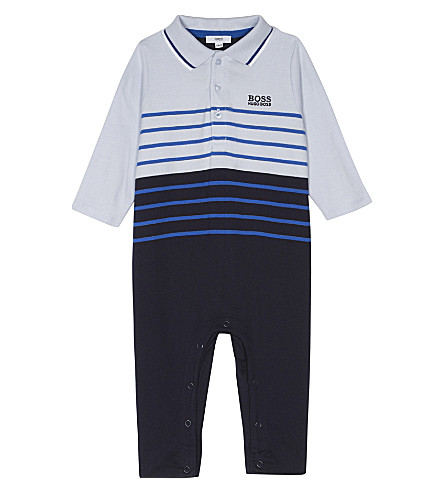 BOSS Logo striped cotton babygrow 1-12 months (Blue