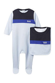 HUGO BOSS Striped bib and babygrow set