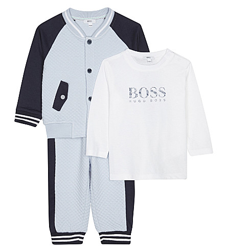 BOSS Waffle finish cotton-blend baby outfit set three pieces 1-18 months (Pale+blue