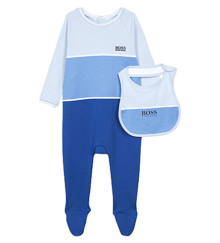 BOSS Striped cotton baby-grow & bib set 1-12 months (Blue