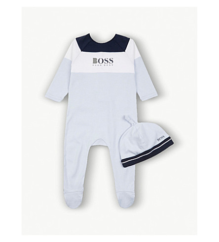 BOSS Colour block cotton baby grow and beanie hat set 1-18 months (Blue