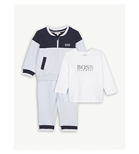 BOSS Jacket, trousers and T-shirt set 1-18 months (Pale+blue++white