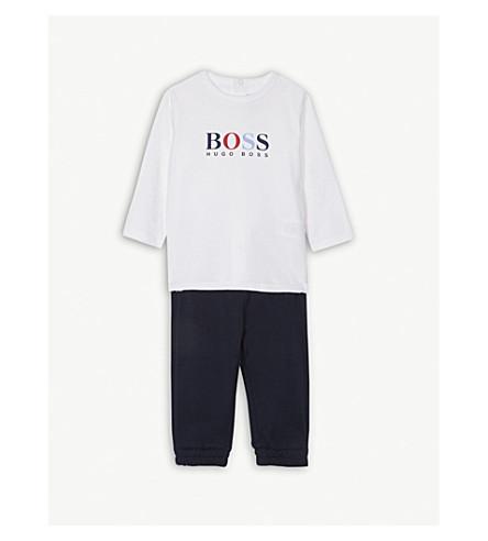 BOSS 长袖 T 恤和慢跑套装 12 月 (海军/白色